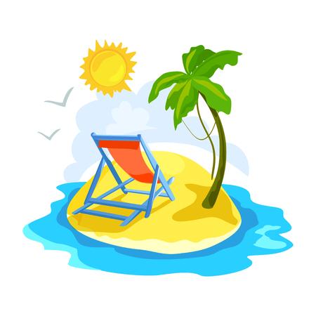 Tropische Insel mit Palmen und Chaiselongue. Vektor-Illustration