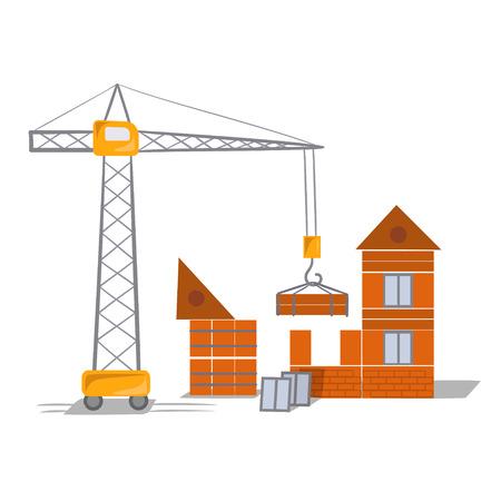 Gebäude, Kran, Haus. Vektor-Illustration