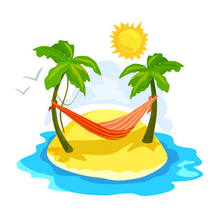 tropical island with palm trees and a hammock. vector illustration