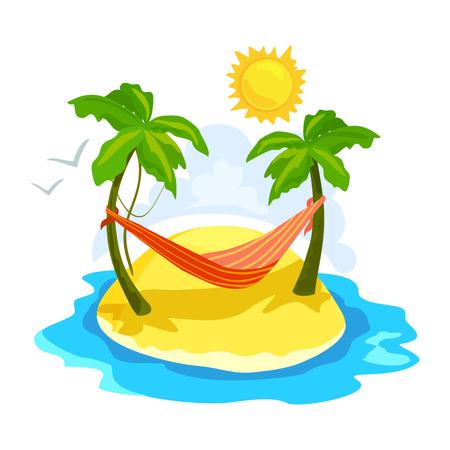Tropische Insel mit Palmen und einer Hängematte. Vektor-Illustration