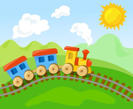 Spielzeugzug mit dem Wagen in der Landschaft. Vektor-Illustration