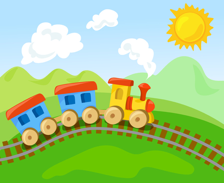 toy train with the wagon in the landscape. vector illustration