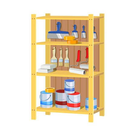 Storage tools. Shelving. vector illustration