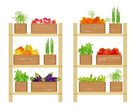 Gemüseladen, Bio-Lebensmittel. Vektor-Illustration