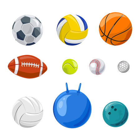set of sports balls isolated. vector illustration