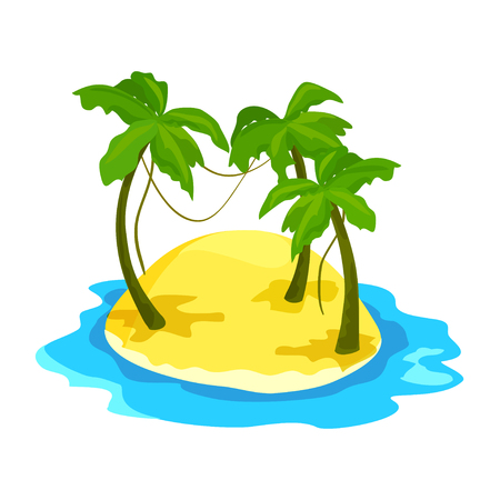 tropical island with palm trees. vector illustration Illustration