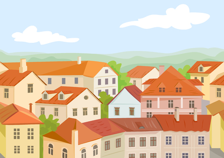 European roofs of houses, seamless background. vector illustration Illustration