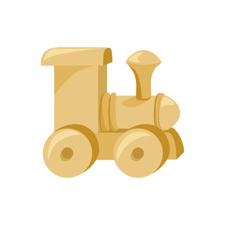 Spielzeug Zug Holz isoliert. Illustration