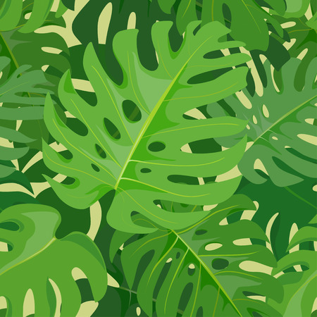 Tropical seamless background. Monstera leaves. vector illustration