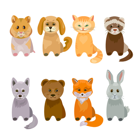 Set of cute pets and wild animals. vector illustration.