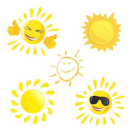 Sonnen-Ikone Satz von verschiedenen fröhlichen Sonnen. Vektor-Illustration