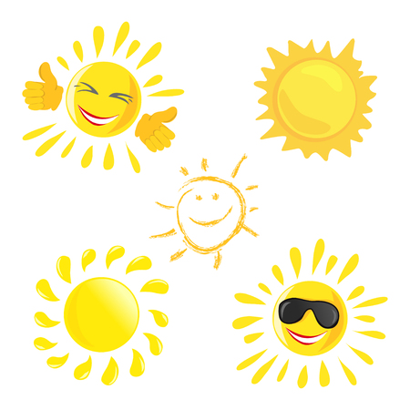 sun icon. set of different cheerful suns. vector illustration