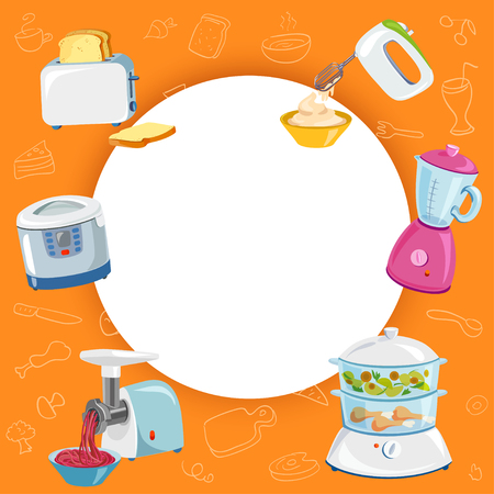 Cooking background, kitchen appliances. vector illustration
