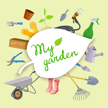 Gardening tools equipment background with garden objects vector illustration.