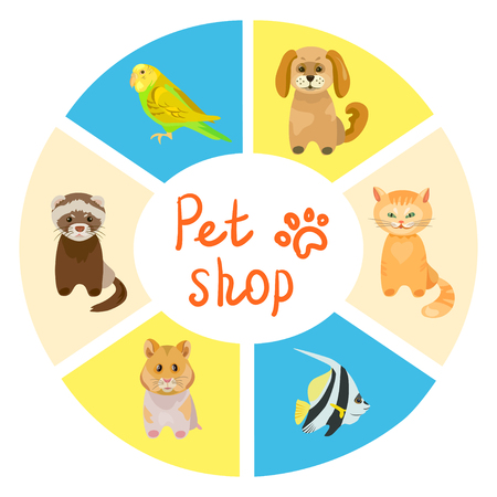 Pet shop background. vector illustration Standard-Bild - 94815169