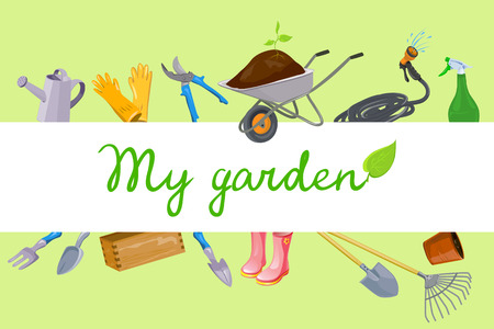 Background with garden tools. vector illustration