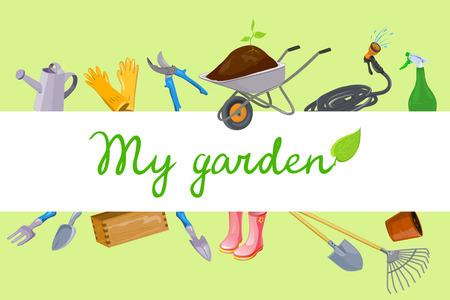 Hintergrund mit Gartengeräten . Vektor-Illustration Standard-Bild - 94815171