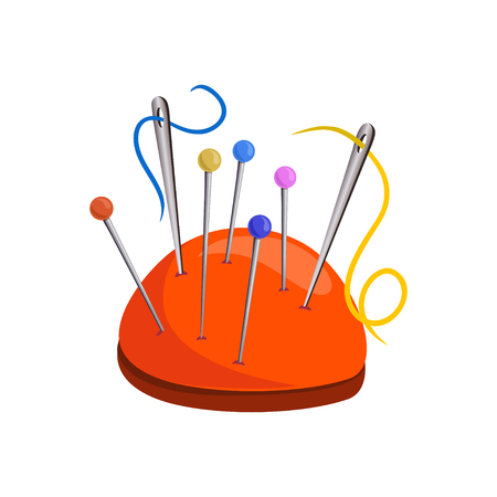 Set of sewing needles and pins, isolated. vector illustration