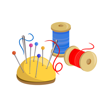Thread with needles, sewing kit. vector illustration Standard-Bild - 94815174