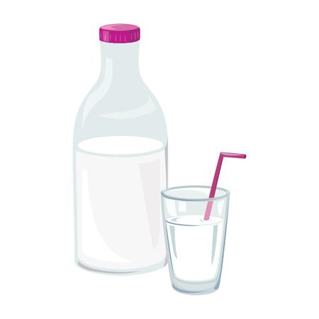 Ein Glas und eine Flasche Milch . Vektor-Illustration Standard-Bild - 94815311