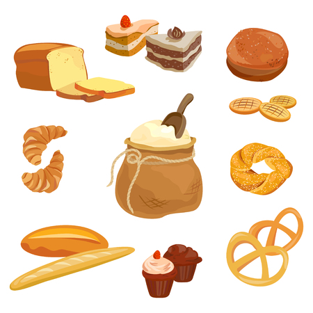 Bread, pastries, flour products. vector illustration Standard-Bild - 94815312