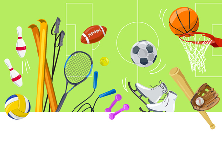 Sports colorful background, sports equipment. vector illustration Standard-Bild - 94815315