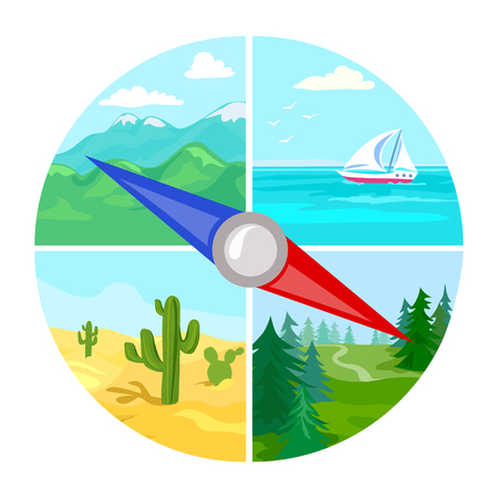 Outdoor travel, compass. vector illustration