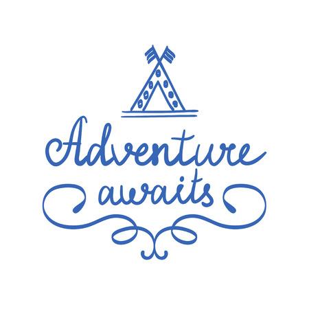 Adventure awaits. logo isolated. vector illustration