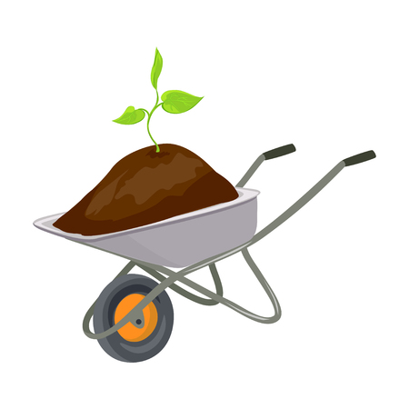 Garden trolley with growing seedlings. vector illustration Illustration