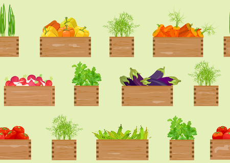 Seamless background, vegetable shop. vector illustration Standard-Bild - 94815320