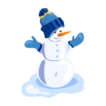Cheerful snowman on snow, isolated. vector illustration Standard-Bild - 94815321