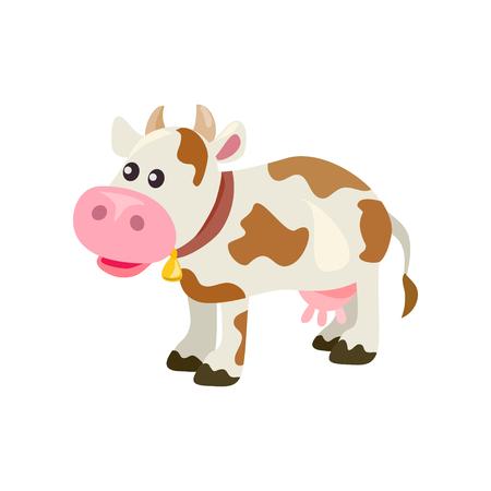 Cute cartoon cow, isolated. vector illustration