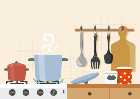 kitchen, cooking, background. vector illustration Illustration