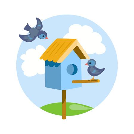 birdhouse with birds icon. vector illustration