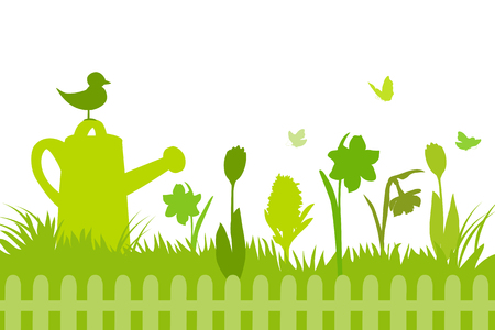 banner with spring flowers, silhouette. vector illustration