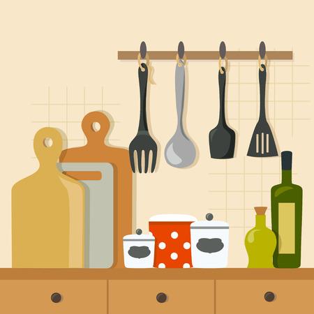 kitchen background, kitchenware. vector illustration Illustration