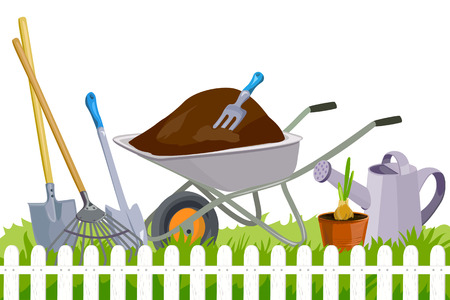 banner with garden tools. vector illustration