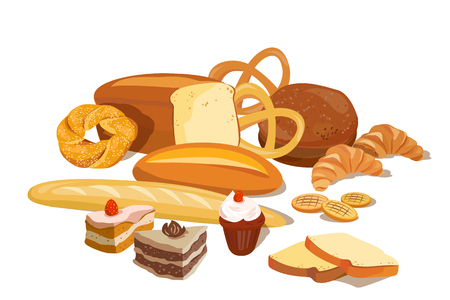 flour products, bread, cooked isolated. vector illustration