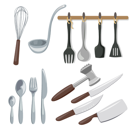 kitchenware, knives, spoons, scoop, whisk. isolated. vector illustration