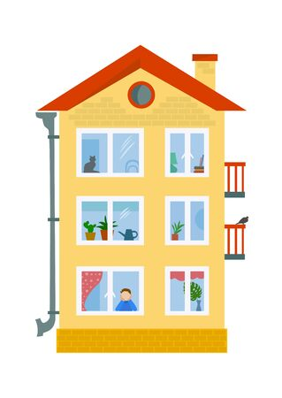modern house with windows. vector illustration