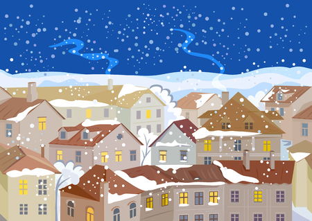 winter night in the city, old european streets, seamless. vector illustration