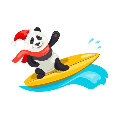 merry panda christmas on surf. vector illustration