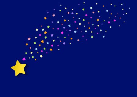 falling stars. background with bright multicolored stars. vector illustration Standard-Bild - 134717471