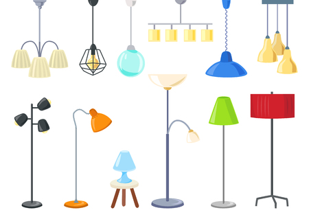set of modern electric lamps, chandeliers, floor lamps. Isolated. vector illustration