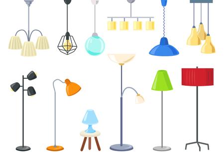 zestaw nowoczesnych lamp elektrycznych, żyrandoli, lamp podłogowych. Odosobniony. ilustracja wektorowa