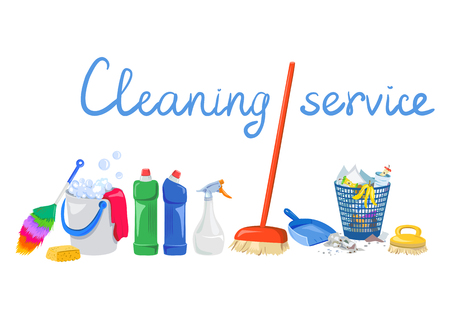 objects cleaning on white background. vector illustration Illustration