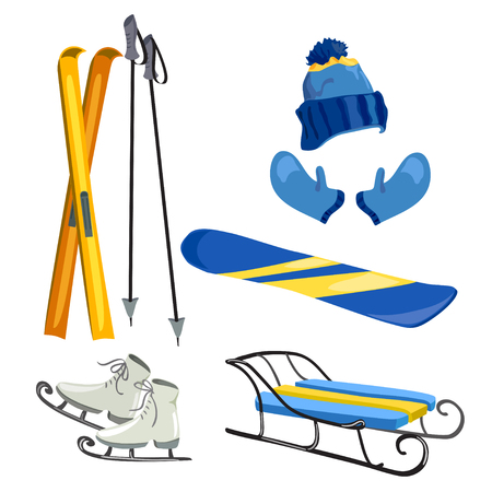 set with winter sport item. vector illustration