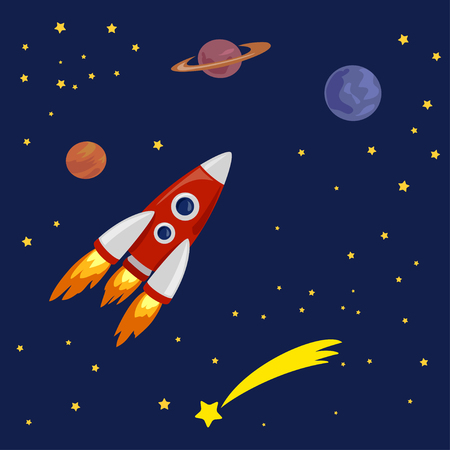 space illustration with space ship. vector illustration Stock Illustratie