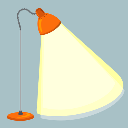 floor lamp, light beam. vector illustration