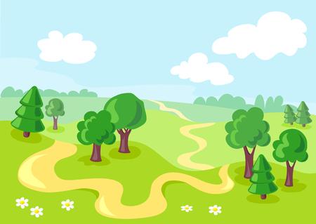 summer cartoon landscape. vector illustration